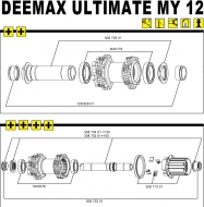 Mavic Deemax Ultimate 2012 Hinterrad Achs-Kit 135 x 12 mm