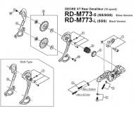 Shimano XT Schaltwerk RD-M773 Ersatzteil Schaltarm aussen GS