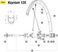 Mavic Ksyrium SLR 125 Speiche Zircal Hinterrad rechts 293,5 mm Mod 2015