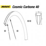 Mavic Cosmic Carbone 40 C Ersatzfelge Hinterrad Clincher Decor white Mod 2015