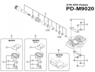 Shimano Pedalkoerper rechts mit Befestigungsschrauben fuer Pedale PD-M9020 Nr 4