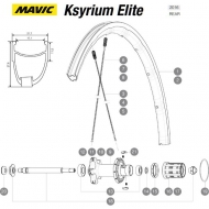 Mavic Ksyrium Elite Speiche Hinterrad links 299,5 mm schwarz Nippel rot Modell 2016-17