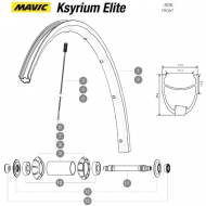 Mavic Ksyrium Elite Speiche Vorderrad 283,5 mm schwarz Nippel blau Modell 2016-17