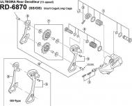 Ersatzteile Shimano Ultegra RD-6870 Di2 Schaltwerk 11 fach