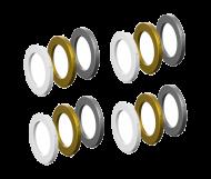 Magura MT Bremsssattel 4 Kolben Blenden-Kit weiss - gold - silber je 4 Stueck